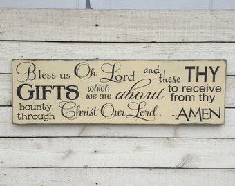 "Bless us Oh Lord wood sign, farmhouse kitchen decor, dining room wooden sign, Christian blessing, bless the food before us, 9"" x 24"""