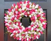 WREATH SALE Spring Wreath- Tulip Spring Wreath- Summer Wreath- Custom Summer Door Wreath