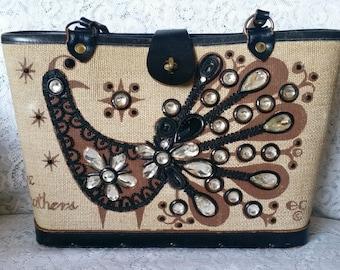 Vintage, Enid Collins, Bucket Style Handbag, Fine Feathers