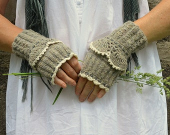 Fingerless lace gloves light gray with white trimming~ Vintage Inspired Hand Knit Worsted Rustic Cuffs Wrist Warmers