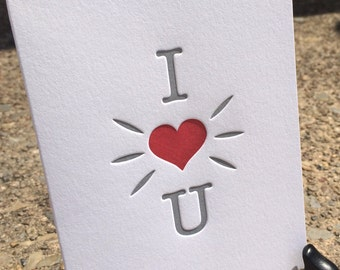 Valentines Day - Letterpress Love Greeting Card -  I Heart You (single)