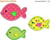 SALE 65% off Cute Applique Fish Group Machine Embroidery Designs 4x4 & 5x7 Instant Download Sale