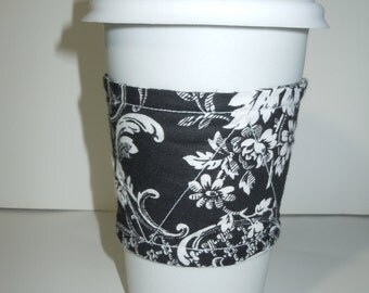 Black and White Coffee Sleeve, Cup Cozy, fabric sleeve