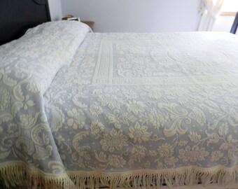 Bates Queen Elizabeth Bedspread, Bates Blue Bedspread, Blue Matelasse Bedspread