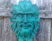Green Man Face ( ceramic) Wall hanger Teal green with black #092016