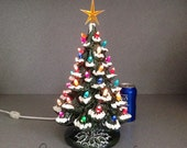 Traditional Green Ceramic Christmas Tree with Snow ......15 inches Tall   ...  Ready to ship. #T81GS