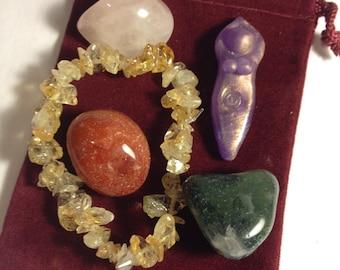 Prosperity and Abundance Spiral Goddess Blessing Pocket Altar (mini altar, medicine bundle, blessing pouch, priestess, ritual, ceremony)