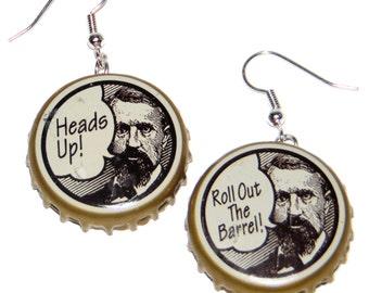 Henry Weinhardt's Rootbeer Bottle Cap Earrings Jewelry