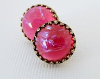 Red Stud Earrings, Red Vintage Opal Earrings, Dragons Breath Round Studs, Post Earrings, Mexican Opal