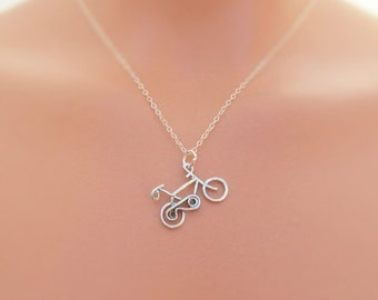Bicycle Necklace, Sterling Silver Bike Charm Necklace, Cyclist, Cycler, Bike Riders Necklace, Wire Bicycle Charm