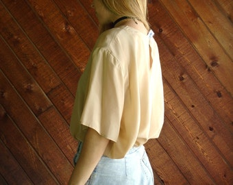 Tan Silk s/s Blouse Top - Vtg 90s - L/XL