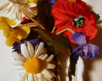 Vintage Multi Colored Millinery Flower Bunch Spray Corsage Daisy Poppy Purple Yellow
