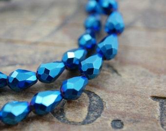 Crystal Faceted Teardrop Beads Chinese Crystal Beads Teardrop 8x6mm Metallic Blue (32)