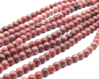 Rhodonite 6mm Round Gemstone Beads 15.5 inches Full Strand T19