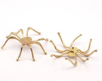 10 Raw Brass  Spider Setting Base (50x50mm) N058