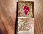 Handmade Lampworked Glass Heart Nestled in Moss in a Matchbox
