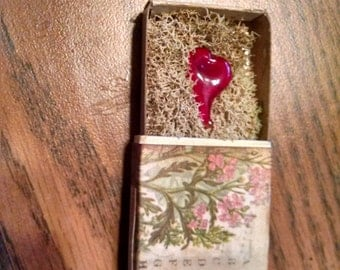 Handmade Lampworked Glass Heart Nestled in Moss in a Matchbox