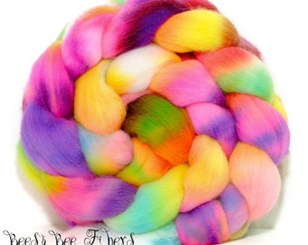 ABSTRACT #2 - Wool roving, hand dyed Organic Polwarth combed top, spinning or felting supplies - 4 oz