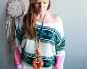 Southwestern Print Dolman Sleeve Tie Dye Bell Sleeve Sweater Boho Upcycled Festival Hippie Eco Friendly OOAK Womens Clothing One Size