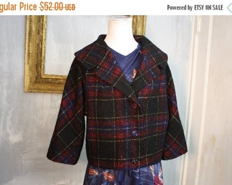 On Sale Bad-Ass Plaid | Vintge Black Red + Blue Plaid Wool Blend Cropped Jackie O Jacket | New Look 1950s | Womens Lg XL | 36-40 Bust