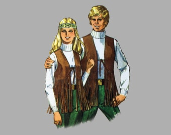 1970 Vest Pattern Simplicity 8938 Chest 36, Matching vests for Men and Women, Bolero Vest, Fringed vest Buckled front vest, Mod, Hippie vest