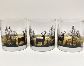 Deer & Trees   Rocks Glass