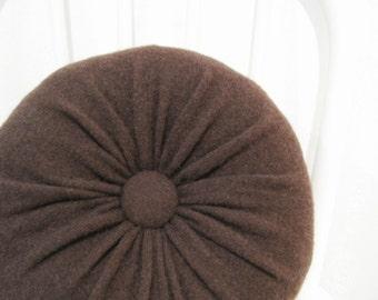 Round Brown Pillow Cashmere Pillow Throw Pillows Accent Pillow Decorative Pillow Sofa Cushion Petite Pillow Bedroom Pillow Lumbar Pillow 903