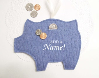 Embroidered Piggy Bank Handcrafted from Periwinkle Blue Felted Wool - Customized Coin Bank - Perfect Personalized Baby Shower Gift no.916