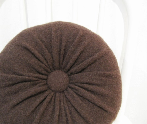 Round Throw Pillows For Couch : Brown Cashmere Round Throw Pillow / Accent Decorative Pillow