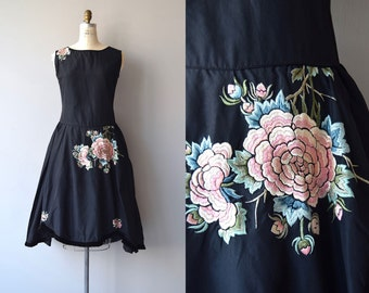 Basque Robe de Style dress | vintage 1920s dress | floral 20s dress