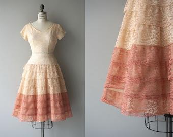 Sorbetto lace dress | vintage 1950s dress | lace 50s party dress