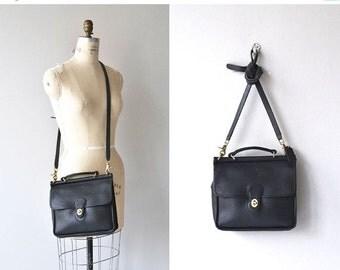 25% OFF SALE Coach Willis satchel   vintage black Coach bag • black leather Coach saddle bag