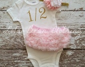 "Gold 1/2 Birthday Bodysuit CAKE SMASH OUTFIT Baby Girl 1/2 Birthday Photo Prop 6 months Birthday ""1/2"" Bodysuit Gold Pink White Headband"