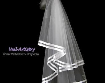Bridal Veil, Brilliance Veil,  2 Tier Bridal Veil, Satin Ribbon Edge Veil, Double Ribbon Veil, Made-To-Order Veil, Bespoke Veil