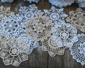 "lot of 12 Hand Crochet 7"" RD Doily for Cottage/Victorian/Shabby/Boho/French Style,Tea Party, Vintage Wedding, Free USA shipping"
