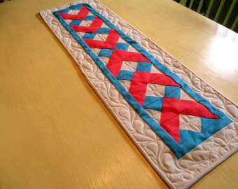 Quilted Table Runner With Arrows , Blue And Coral