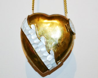 Vintage Purse Mother of Pearl on Brass Heart