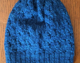 Hand Knit Textured Wool Hat - Turquoise