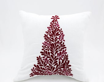 Red Christmas Tree Decorative Pillow Cover, White Linen Throw Pillow Cover, Holiday Couch Pillow Cover, Embroidered Pillow Case