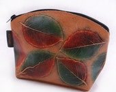 Cosmetic Bag, Small Leather Pouch