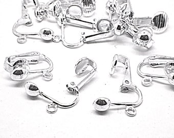 Silver Plated Brass Hinged Ear clip - earring findings convert to non pierced.