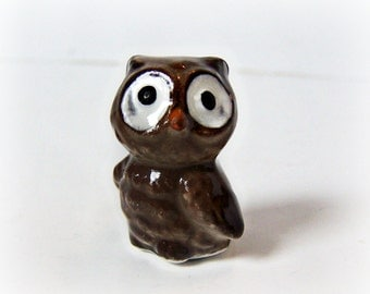 Vintage Miniature Baby Owl Figurine Kitschy Cute Woodland Creature Early 1970s Japan Blue & White paper label MINT Animal Mini Collectible