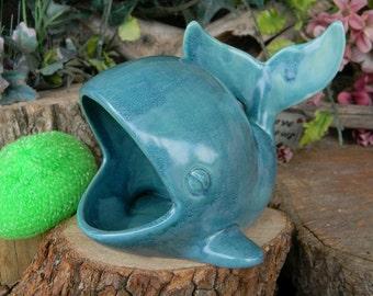 Whale Sponge Holder  - Ceramic Hand painted Ocean themed Jewelry Holder Cel Phone Holder scrubby