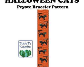 Peyote Bracelet Pattern - Halloween Cats - INSTANT DOWNLOAD PDF - Peyote Stitch Bracelet Pattern - Black Cats Pattern - Peyote Cats Pattern