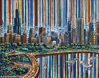 Chicago summer, Chicago skyline, lake Michigan, Chicago lakefront, 8x10 Art Print by Anastasia Mak
