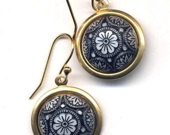 Art Deco Earrings, Vintage Glass Earrings, 18 K Gold Filled Ear Wire design, Black Gold White Earrings, handmade jewelry by annaart72