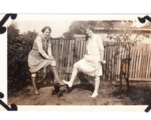 vintage photo Leggy Flapper Girls Silly Pose 1920s snapshot