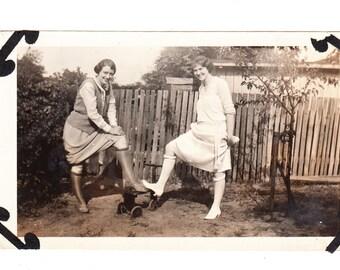 vintage photo Leggy Flapper Girls Silly Pose 1920s snapshot