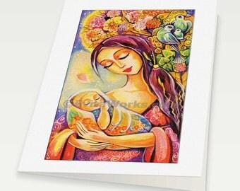 Motherhood painting, mothers love, mother child, spiritual inspirational art, mother woman card, woman card, 6x8