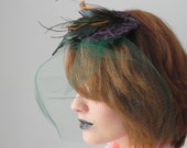 Iridescent Feather Violet Lace Tulle Fascinator Veil